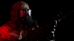 Hazmat Soldier (sentry) | Military Biohazard / Chemical Weapons 1 Stock Footage