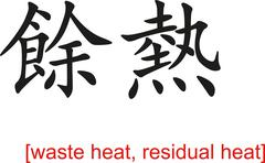 Stock Illustration of Chinese Sign for waste heat, residual heat