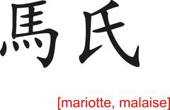 Chinese Sign for mariotte, malaise Stock Illustration