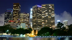 Time Lapse of Scenic Downtown Los Angeles at Night with Clouds Stock Footage