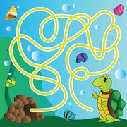 puzzle for kids - marine life - stock illustration