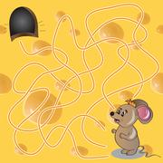 Vector illustration of  maze or labyrinth game with funny mouse Stock Illustration