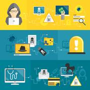 Hacker banners set Stock Illustration