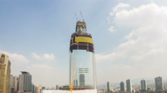 Seoul Jamsil Lotte World Tower Constructruction 489 Stock Footage