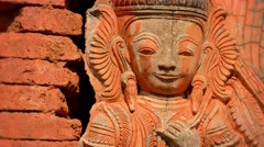 Ancient red stone statue. burma, inle lake Stock Footage