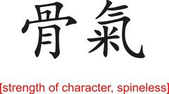 Chinese Sign for strength of character, spineless - stock illustration