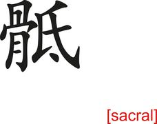 Chinese Sign for sacral - stock illustration