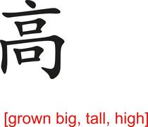 Chinese Sign for grown big, tall, high - stock illustration