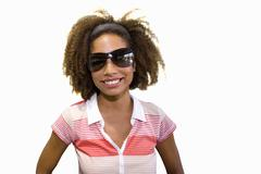 close-up of girl wearing sunglasses, cut out - stock photo
