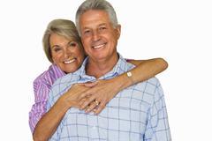senior couple together, portrait, cut out - stock photo