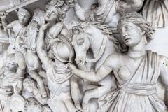 relief sculpture of battle scene in the vatican museum, rome, italy. - stock photo