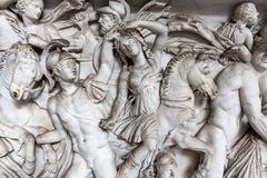 Relief sculpture of battle scene in the vatican museum, rome, italy. Stock Photos