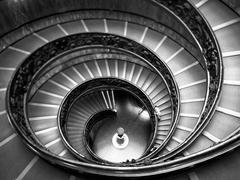 Bramante staircase black and white, exit stairs from vatican city Kuvituskuvat