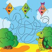 maze  turtle with a kite - stock illustration