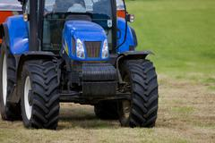 Close up of tractor and fertilizer spreader Stock Photos