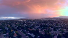 Lightning strike aerial view incoming storm sunset clouds Stock Footage