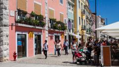 Mcdonalds fast-food restaurant in belem, lisbon Stock Footage