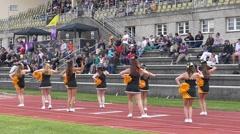 Slow Motion Cheerleaders girls dancing in Rugby game - stock footage