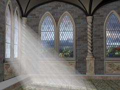 god rays through an arched window - stock illustration