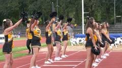 4K FHD Cheerleaders girls dancing in Rugby game - stock footage