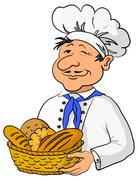 Cartoon cook chef baker with a basket of bread Stock Illustration
