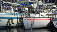 Lots of yachts in the marina Stock Footage