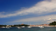Some yachts near the city Stock Footage