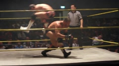 Pro Wrestling Match: Spear Counter & Superkick to Face HD Stock Footage