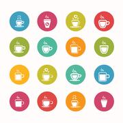 Coffee icons set circle series - eps.10 Stock Illustration
