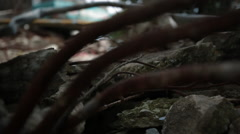 Tracking close up shot of debris and rubble - stock footage