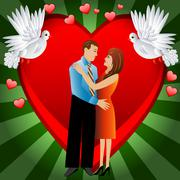 young loving couple on a background a heart - stock illustration