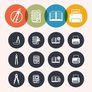 Stock Illustration of collection circle series icons ,measurement instrumentr, notepad, print, book