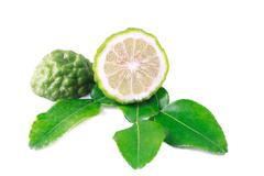 Kaffir lime with leaf on white background. Stock Photos