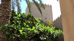 Salalah Arabia Orient Oman sultanate 022 Taqa castle battlements behind leaves Stock Footage