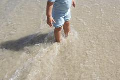 Girl (2-4) standing ankle deep in water on sandy beach, low section, elevated Stock Photos