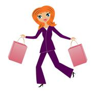 Young business woman hurry with purchase home Stock Illustration