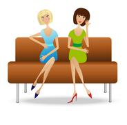 Two young women sitting on sofa Stock Illustration