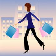 young business woman hurry with purchase home - stock illustration