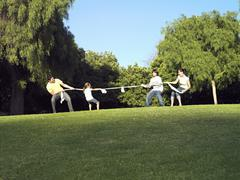 Two generation family playing tug-of-war on grass in park, side view Stock Photos