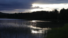 Forest lake at sunset Stock Footage