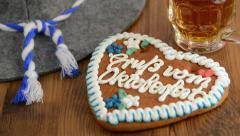Oktoberfest Gingerbread Cookie with bavarian hat Stock Footage