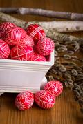 traditional transylvanian hand written eggs - stock photo