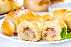 meat stuffed crescent roll - stock photo