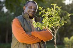 Senior man standing beside small tree in autumn garden, arms folded, smiling, Stock Photos