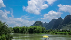 Running white clouds over green mountains and Yulong river, in Guilin,China. Stock Footage