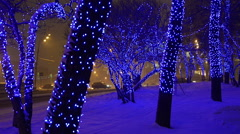 Christmas, New year time in city streets, decorated and illuminated Stock Footage