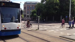 Pan from a Tram passing by in Amsterdam, The Netherlands Stock Footage