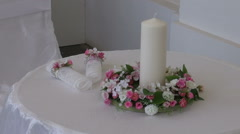 Wedding table with two chair beautiful decoration in old manor Stock Footage