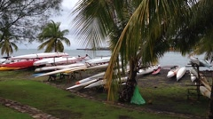 Outrigger canoes in Tahiti, French Polynesia Stock Footage
