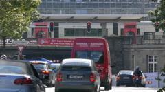 4K HD Munich downtown Traffic Train station Tram pass tunnel bridge Germany Stock Footage